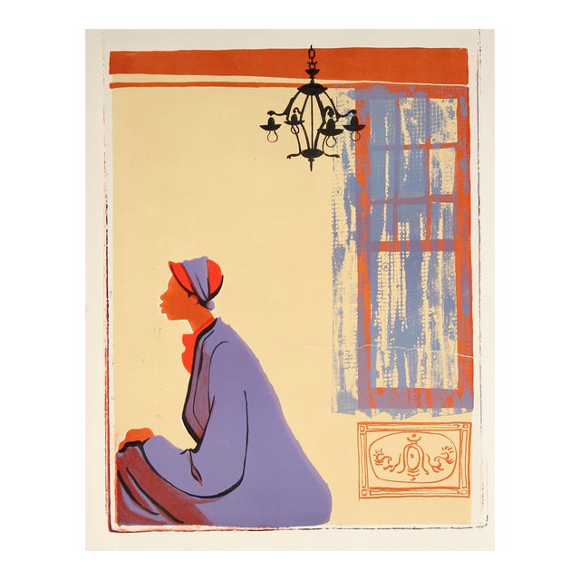 20th Century Figurative Scene With C, Stone Lithograph For Sale