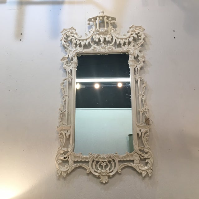 White Lacquered Labarge Pagoda Mirror - Image 7 of 7
