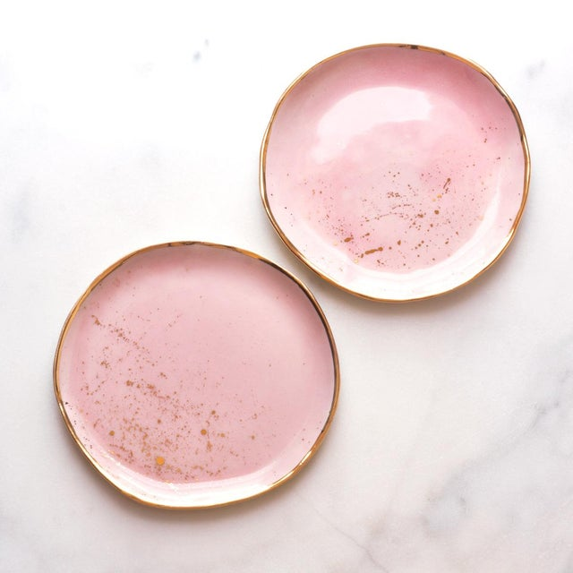 Suite One Studio Dessert Plates in Rose With Gold Splatters For Sale In Greensboro - Image 6 of 6
