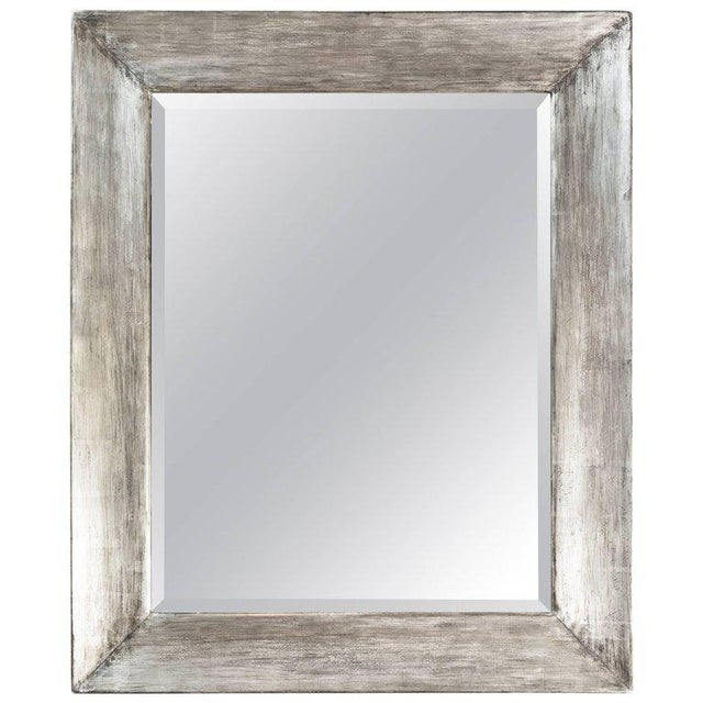 Wood Paul Marra Distressed Silvered Frame Mirror For Sale - Image 7 of 7