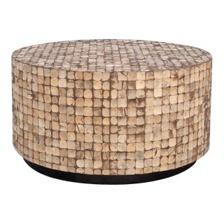 Boho Chic Style Mosaic Wood Coffee Table For Sale