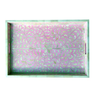 Pink Floral Bone Inlay Serving Tray For Sale
