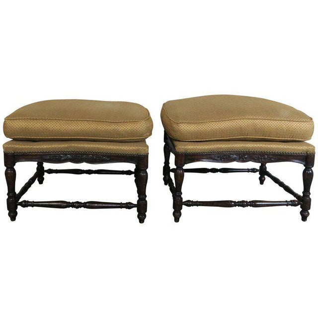 French Louis XV Style Walnut Benches With Loose Cushions Circa 1900s, Pair For Sale - Image 9 of 9