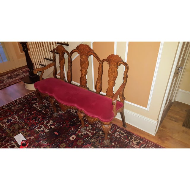Early 18th Century Bench Setee Dutch Marquetry In good shape and very strong Upholstery restored
