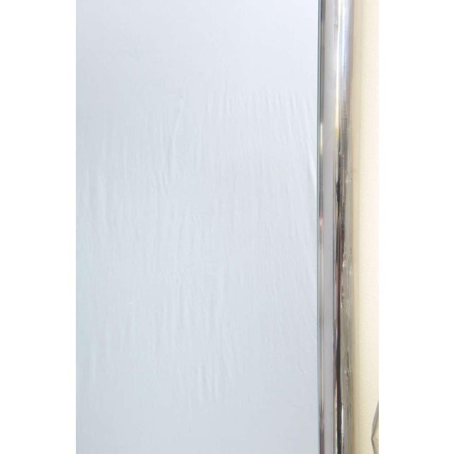 Silver Modernist Steel Mirror For Sale - Image 8 of 9