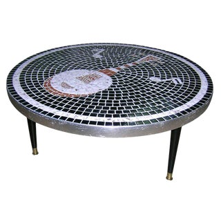 1950s Vintage Mosaic Tile Top Table For Sale