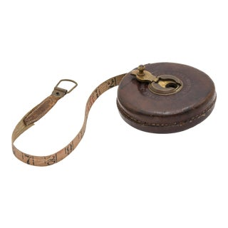 Antique English Leather Tape Measure For Sale