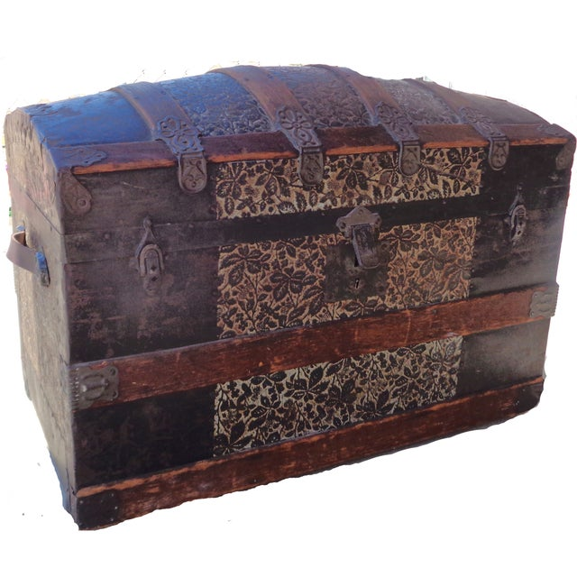 Antique Late 1800s Barrel Top Trunk - Image 3 of 4