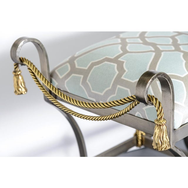 Neoclassical Neoclassical Style Rope & Tassel Steel Ottoman For Sale - Image 3 of 11