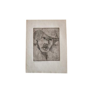 Almond Eye Old Man in Hat Etching For Sale