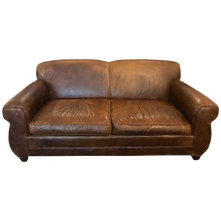 French Art Deco Style Distressed Leather Sofa For Sale