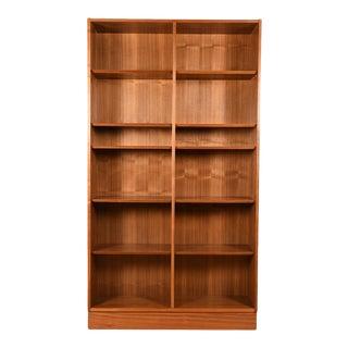 Danish Walnut 42″ Tall Bookcase W/ Adjustable Shelves For Sale