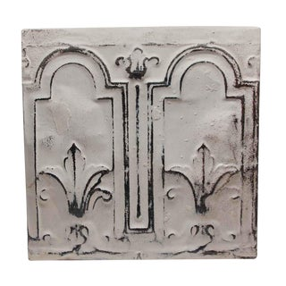 Antique Decorative 2 Fold White Tin Panel For Sale