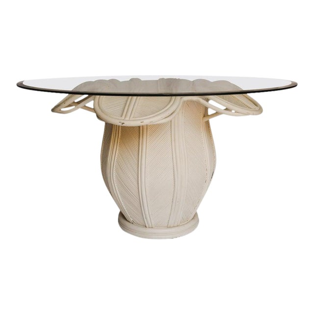 1970s Hollywood Regency Rattan Flower Dining Table With Glass Top For Sale