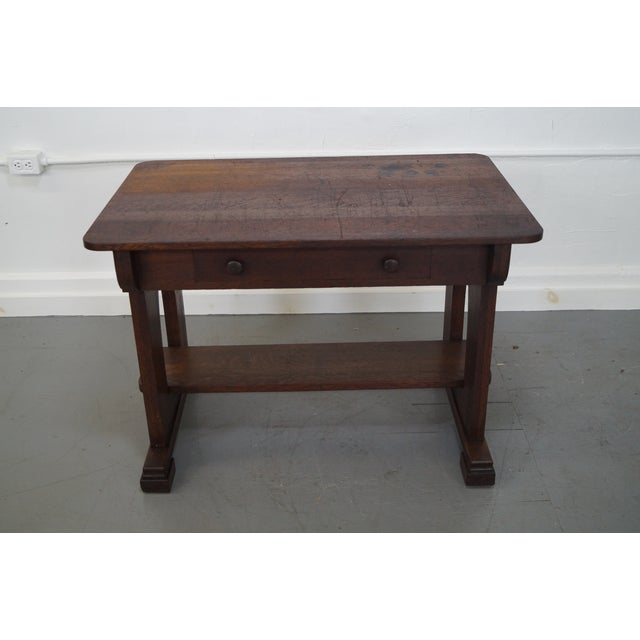 Antique Mission Oak Library Table - Image 2 of 10