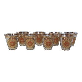 Mid-Century Modern Georges Briard Rocks Glasses - Set of 8 For Sale