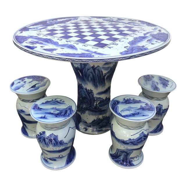 Blue & White Ceramic Game Table Set For Sale