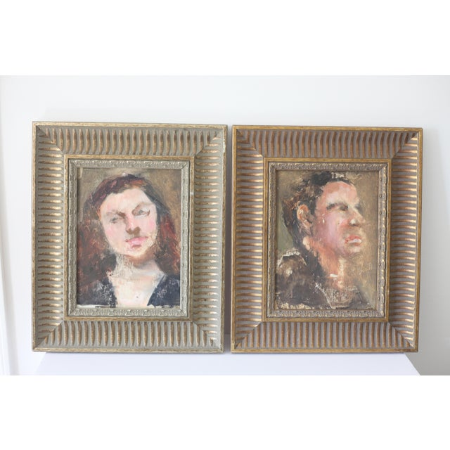 Man and Woman Portrait Paintings - A Pair - Image 6 of 6