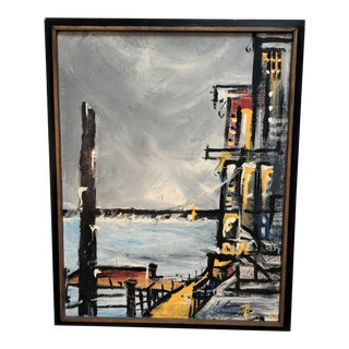 1960s Mid Century Modern Oil Painting of a Harbor Scene For Sale