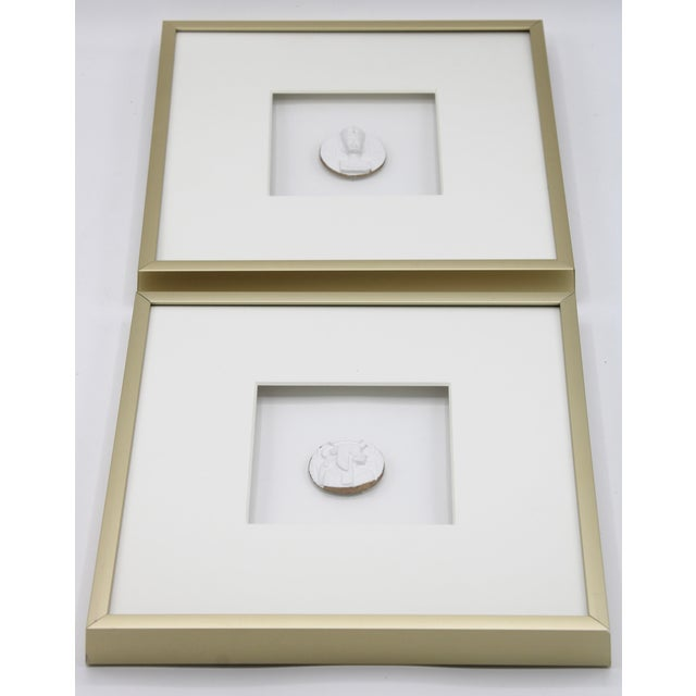 Grand Tour Egyptian Revival Gold Framed Intaglio Medallions - Set of Two For Sale - Image 3 of 12