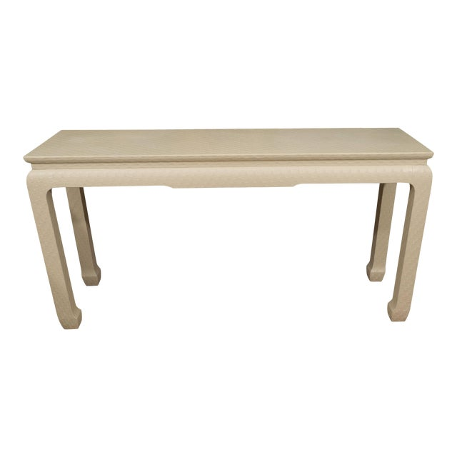 White Lacquered Console Table For Sale