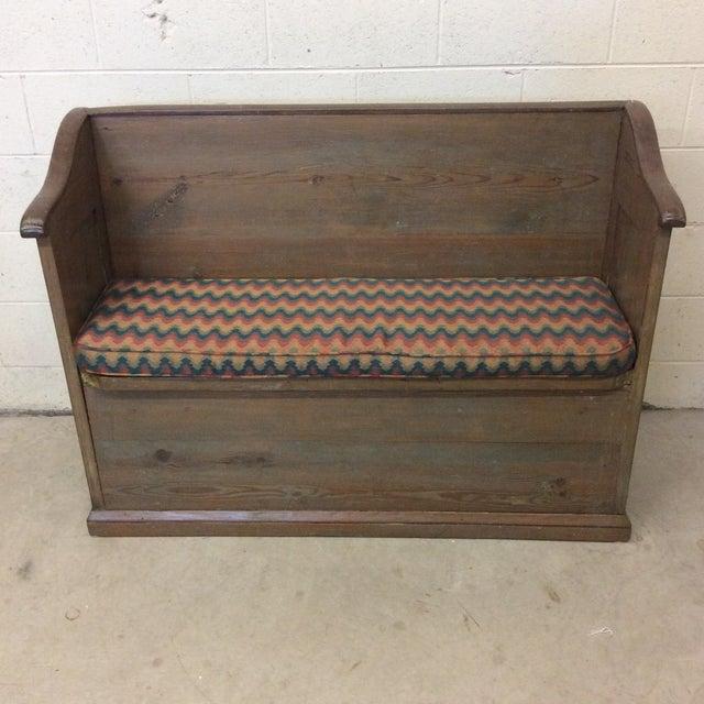 High Back Pickled Wood Bench For Sale - Image 12 of 12