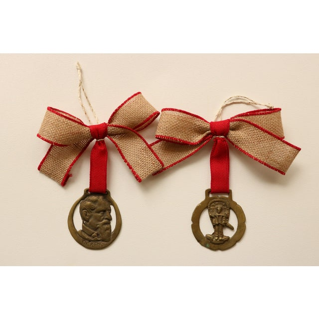 English Brass Horse Medallion Ornaments, S/6 For Sale - Image 5 of 5