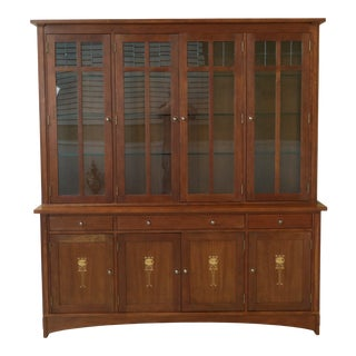 Stickley Harvey Ellis Design Inlaid Cherry Mission China Cabinet For Sale