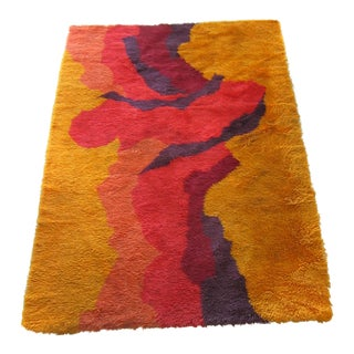 Mid-Century Abstract Rya Wool Scandinavian Rug - 4′3″ × 5′