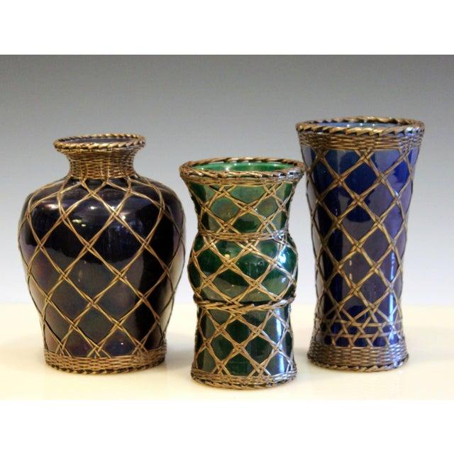 Antique Awaji Pottery Gu Form Vase Brass Weaving For Sale - Image 9 of 10