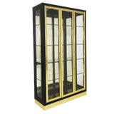 Image of Mid Century Black Laquer and Brass Lighted Display Cabinet in the Manner of Mastercraft For Sale