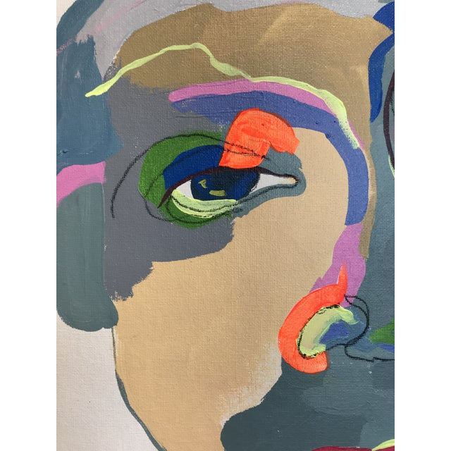 """Contemporary Abstract Portrait Painting """"What Are You Doing Tonight"""" - Framed For Sale - Image 4 of 9"""