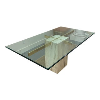Mid Century Travertine and Brass Dining Table For Sale