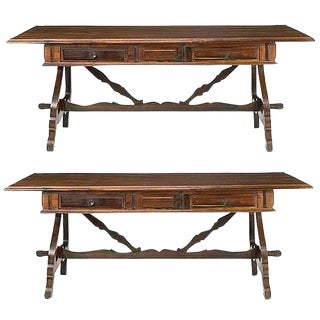 Pair of Portuguese Jacaranda Wood Trestle Tables, 19th Century For Sale