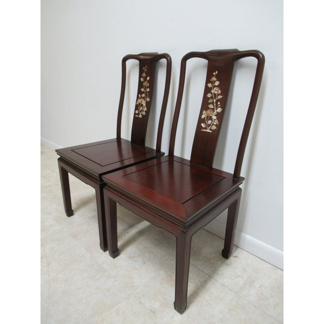 Asian 1970s Vintage Chinese Chippendale Rosewood Mother of Pearl Dining Room Chairs - A Pair For Sale - Image 3 of 12