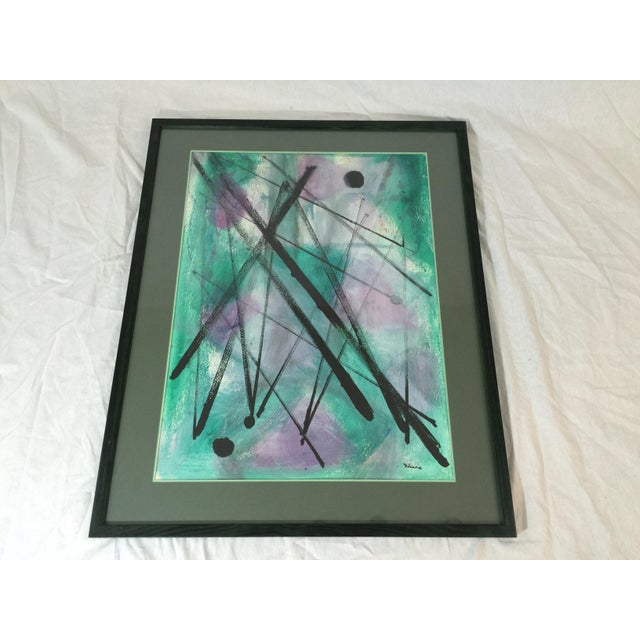 """L. Rhana - """"Untitled"""" Abstract Turquoise Painting - Image 2 of 6"""