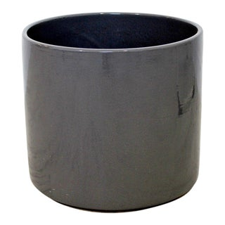 Mid Century Modern Small Blue Grey Glazed Gainey Ceramic Planter For Sale