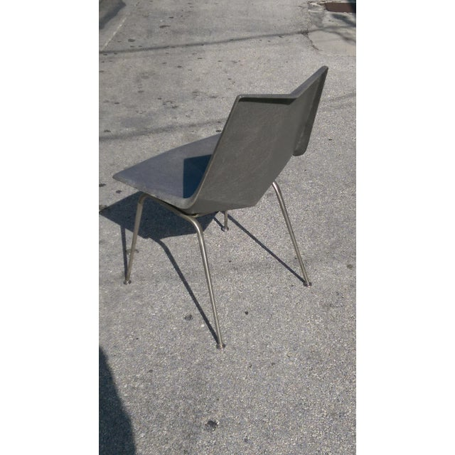 Mid-Century Modern Vintage Paul McCobb Grey Origami Shell Chair For Sale - Image 3 of 7