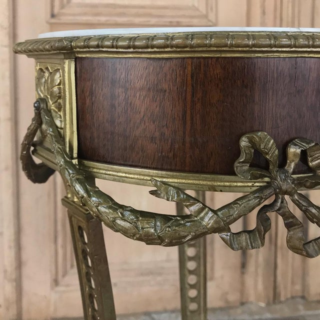 19th Century French Louis XVI Marble Top Brass Pedestal For Sale - Image 9 of 12