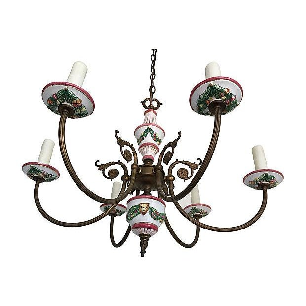 French Country 1940s French Porcelain Chandelier For Sale - Image 3 of 6