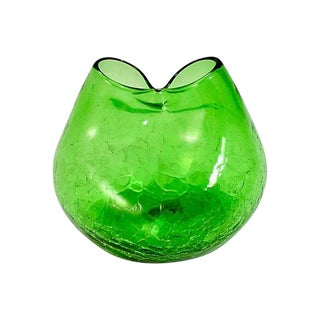 1950s Blenko Green Crackle Glass Bud Vase For Sale