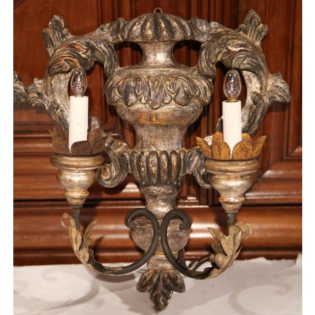 Italian Italian Carved & Metal Two-Light Sconces With Silver Leaf Finish - A Pair For Sale - Image 3 of 8