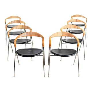8 Hans Eichenberger Saffa Dining Chairs Dietiker & Stendig Black Vinyl Chrome & Wicker For Sale