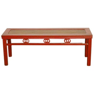 Chinese Red Lacquer and Raffia Carved Bench Seat For Sale