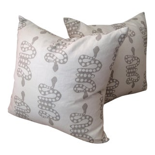 Block & Brayer Snake Print Cotton Canvas Pillows For Sale