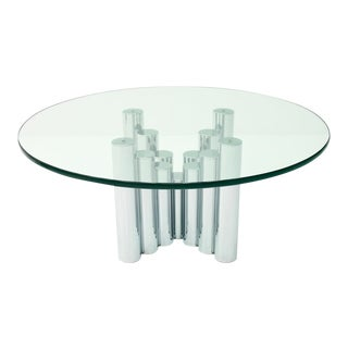 Modern Coffee Table in Chrome & Glass 1970s For Sale