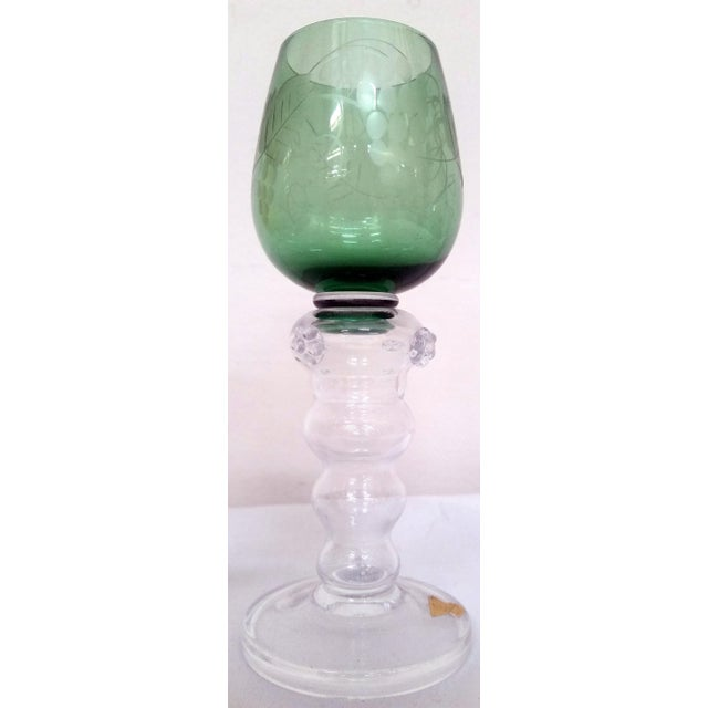 Gulla Skruf Green & Yellow Wine Goblets - A Pair For Sale - Image 5 of 6