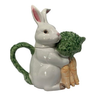 Vintage Hand Painted Fitz & Floyd Bunny-Hare Pitcher For Sale