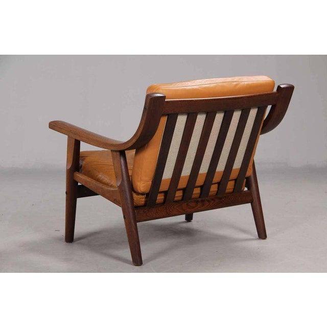 Hans Wegner Leather Upholstered Armchair by Hans Wegner For Sale - Image 4 of 6