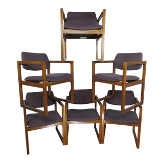 1970s Vintage Edward Axel Roffman Modern Oak Cube Chairs- Set of 6 For Sale